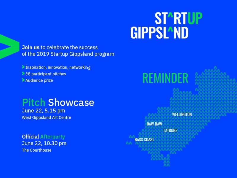 Startup Gippsland Pitch Showcase reminder