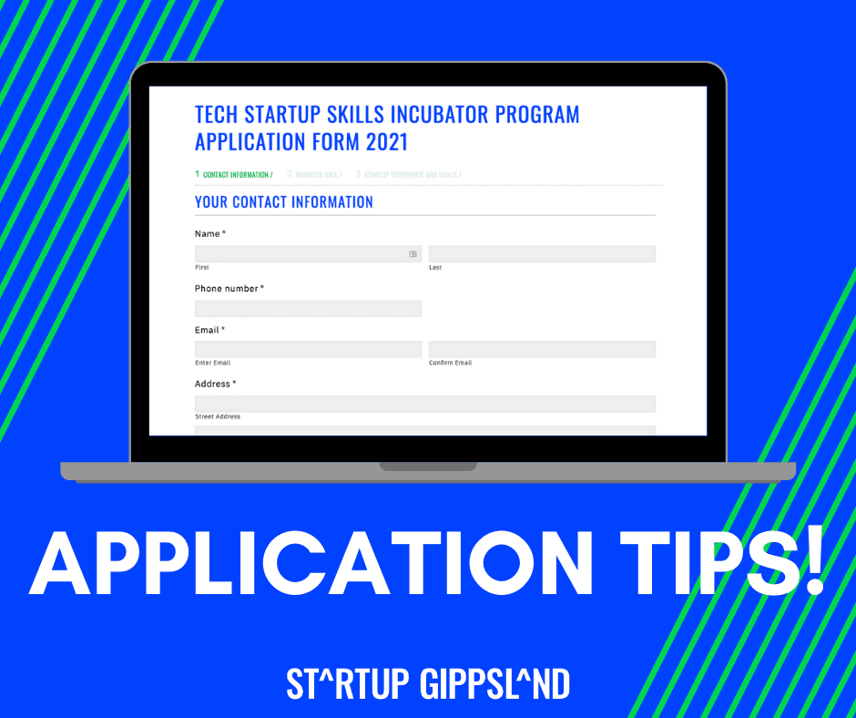 Application tips Startup Gippsland