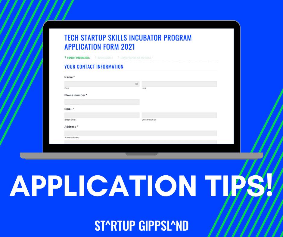 Application tips Startup Gippsland